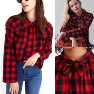 NWT Madewell Red & Black Buffalo Plaid Blouse S